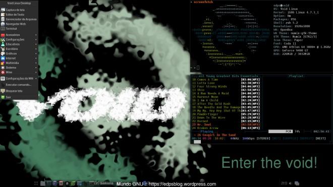 Void Linux + OpenBox + driver NVidia + obmenu-generator + terminal Sakura & MOC