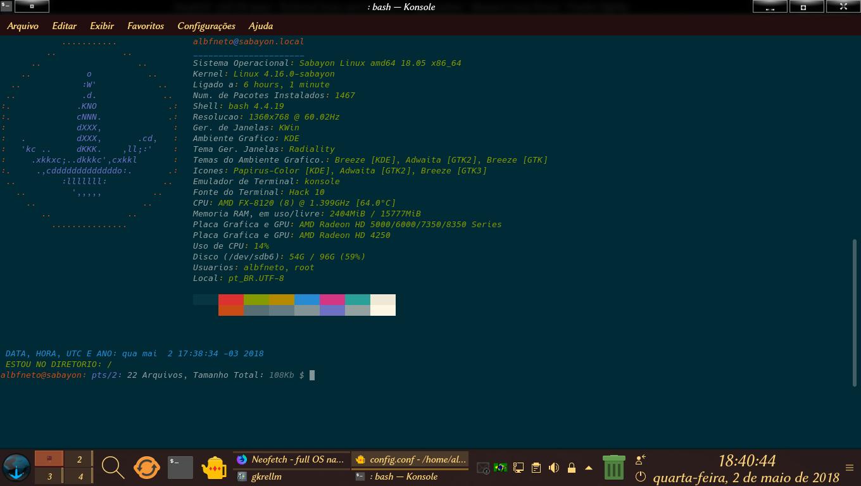 Dica e Screenshot: Colorizando e Editando o Neofetch, no